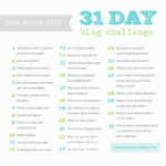 31 Day Challenge for March, coming up soon!
