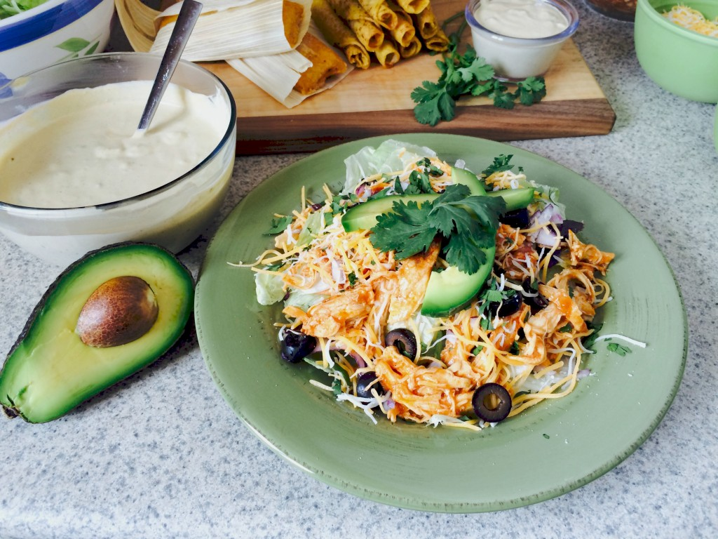 Delimex with Chicken Enchilada Salad and Creamy Avocado Enchilada Sauce #ad #DelimexFiesta