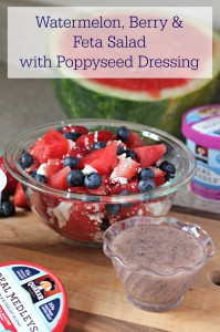 Watermelon Berry and Feta Salad with Poppyseed Dressing
