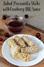Baked Mozzarella Sticks with Cranberry BBQ Sauce