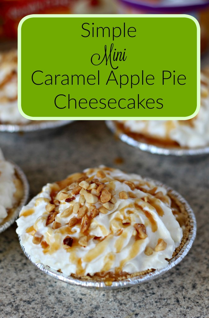 The perfect treat for afterschool, the crisp fall season, or even the holidays. These mini, individual serving caramel apple pie cheesecakes are easy to make and fun to eat. #ad #EffortlessPies