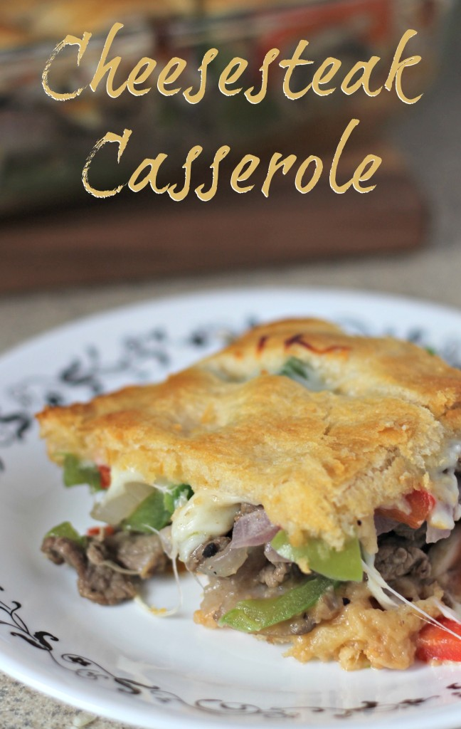 A fun way to enjoy a cheesesteak sandwich in casserole form. Easy to make and a wonderful treat for your tastebuds.