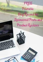 FREE Printable Blog Record for Sponsored Posts and Product Reviews