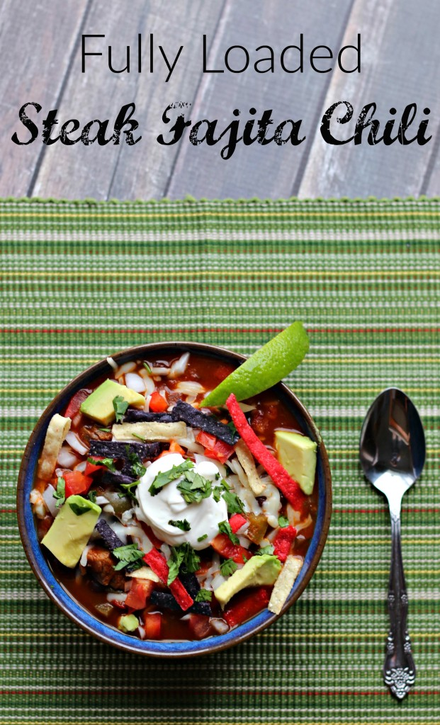 The best chili for any game day celebration is Fully Loaded Steak Fajita Chili! You have to try this recipe! ad #Souperbowl