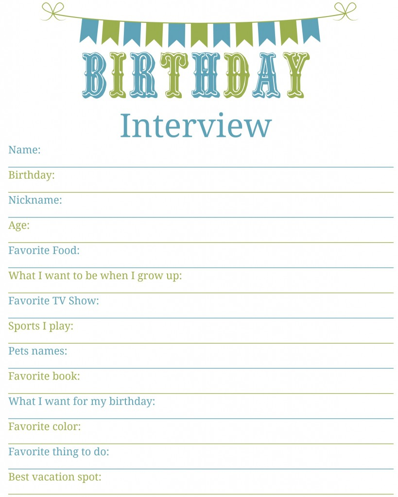 What questions would you include on a birthday interview for kids ...