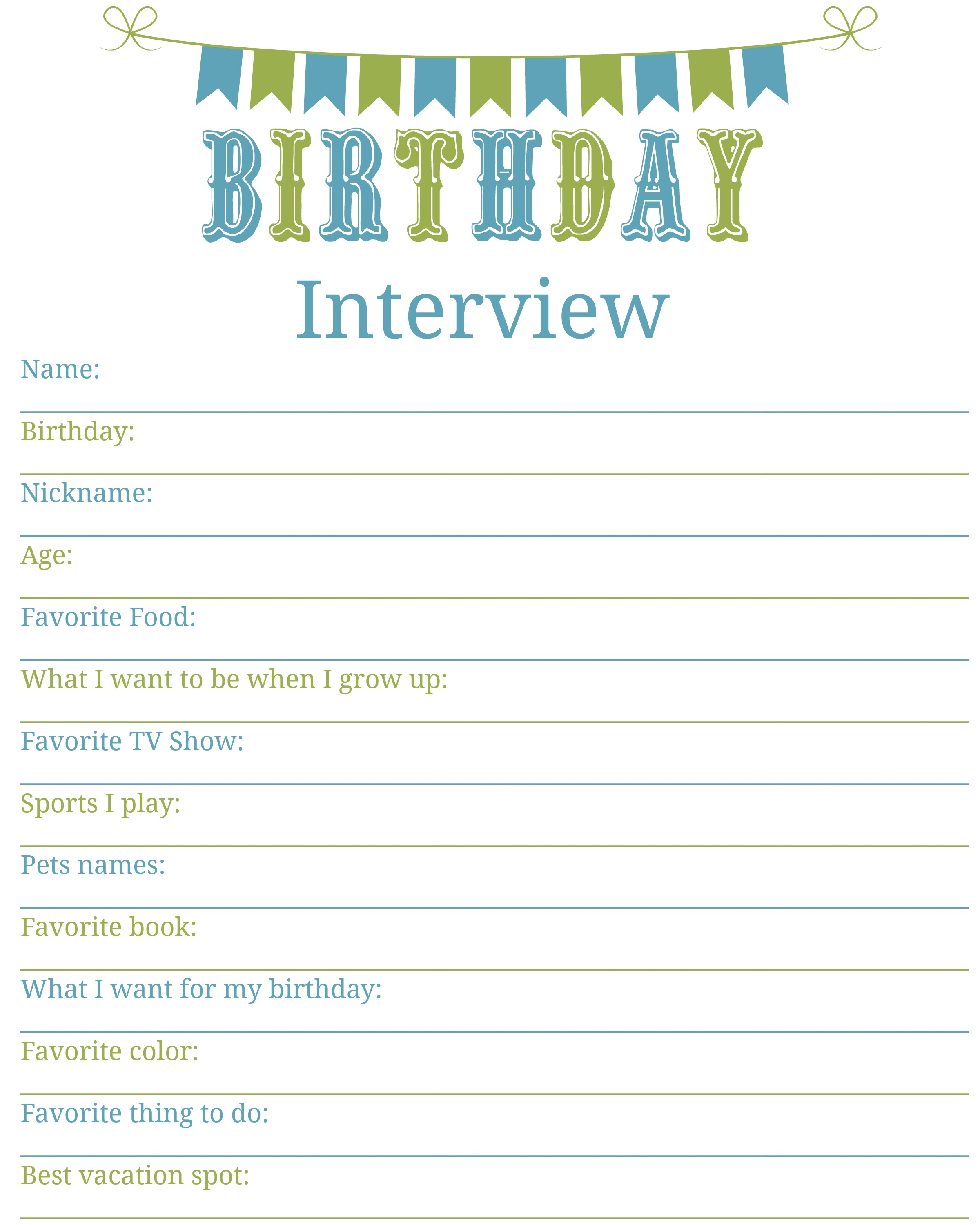 printables archives living a sunshine life birthday interview printable