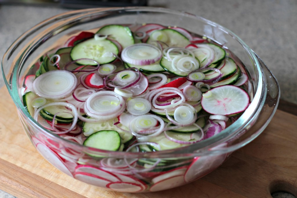 A fresh, tangy cucumber and radish salad perfect for a picnic or backyard BBQ this spring or summer. ad