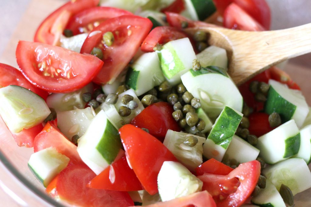 Tomato Cucumber Salad with Balsamic Reduction Glaze is the perfect side for pizza night. ad #RealTasteForRealLife