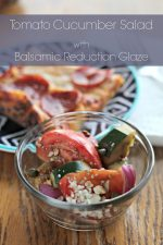 Tomato Cucumber Salad with Balsamic Reduction Glaze