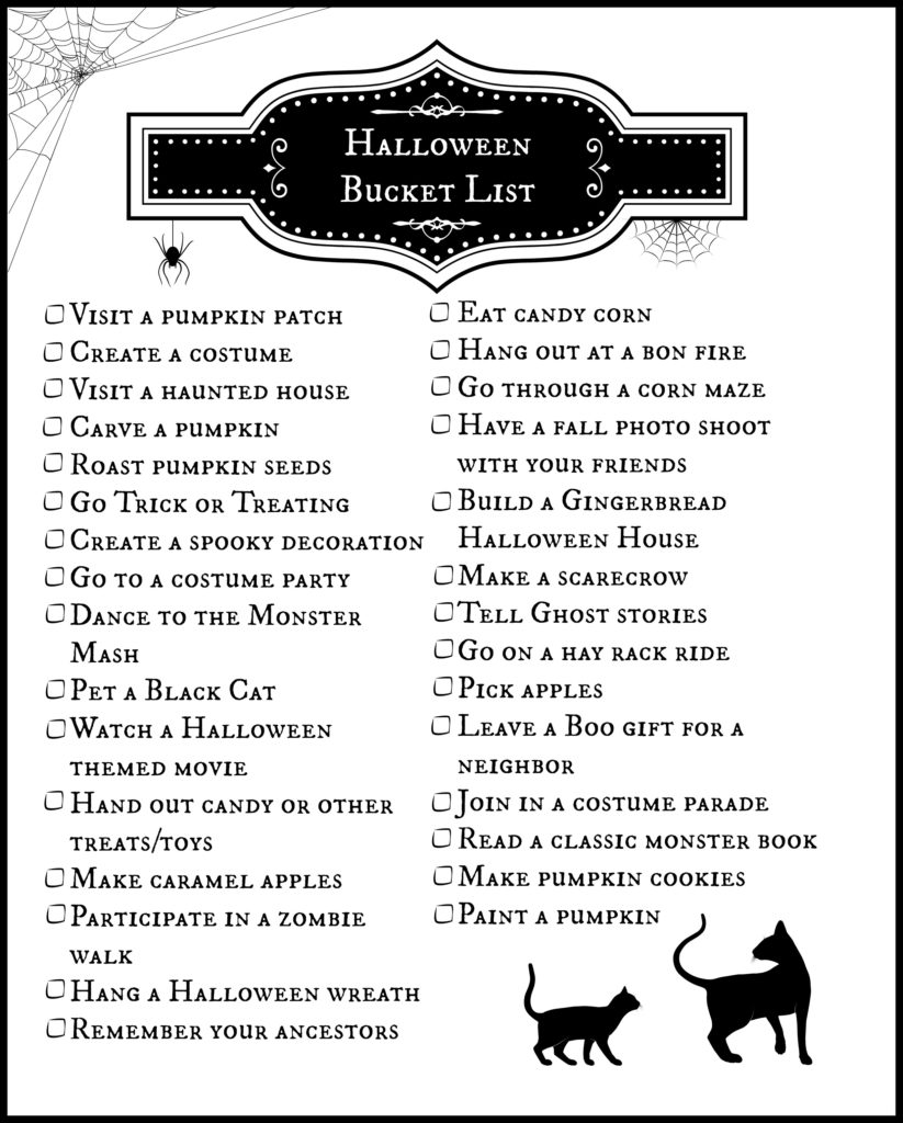 A fun printable to make sure you don't miss a fun activity for Halloween!