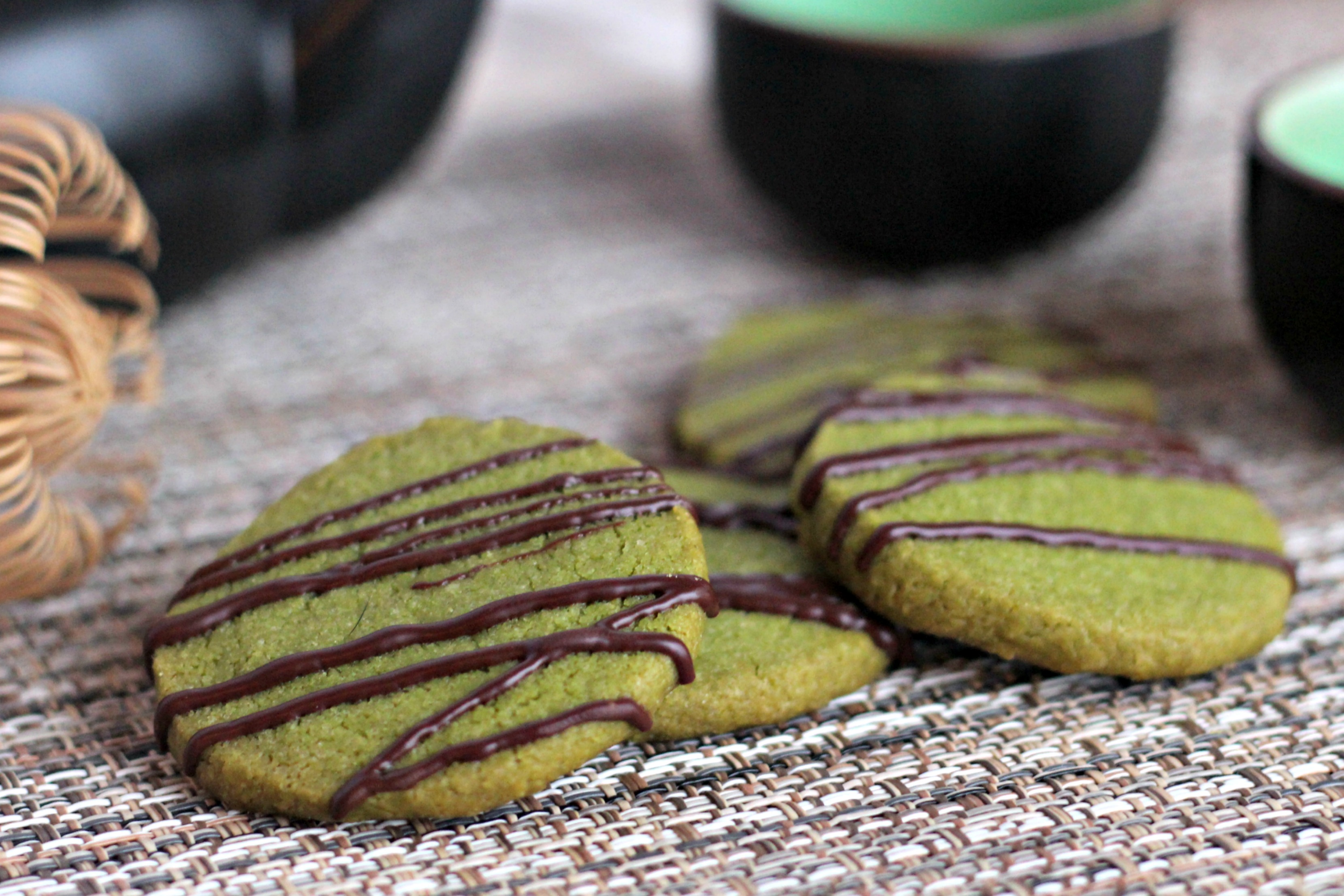 Matcha Shortbread with Chocolate Drizzle