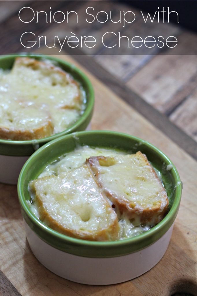 The perfect comfort food. Hot soup, with toasted bread, and melty cheese. It's the comfort food trifecta! Onion Soup with Gruyere Cheese! Ad