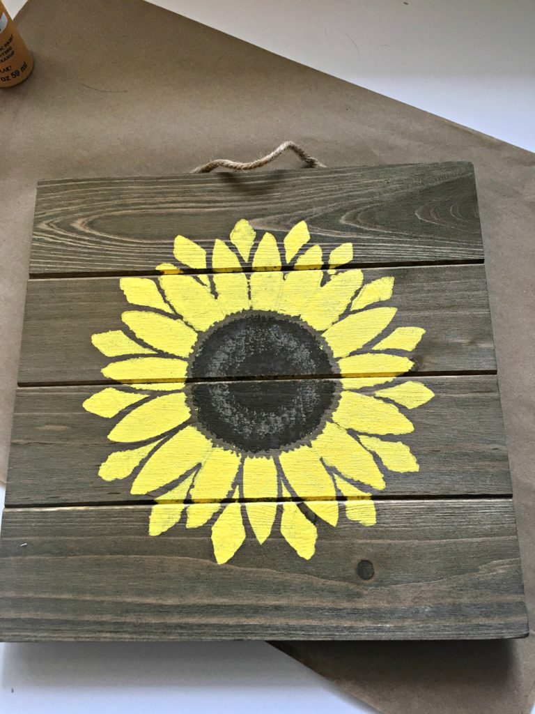 Sunflower wall decor made for a review of Stencil Revolution.